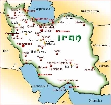 Iran map for hotel reservations